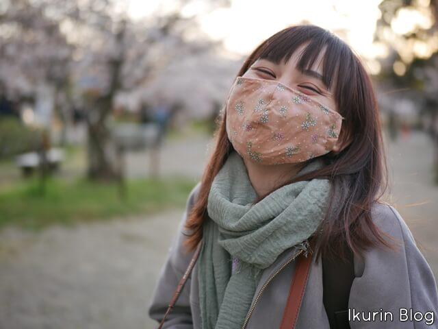 京都・円山公園「サクラとマスク姿のイクリン」イクリンブログ